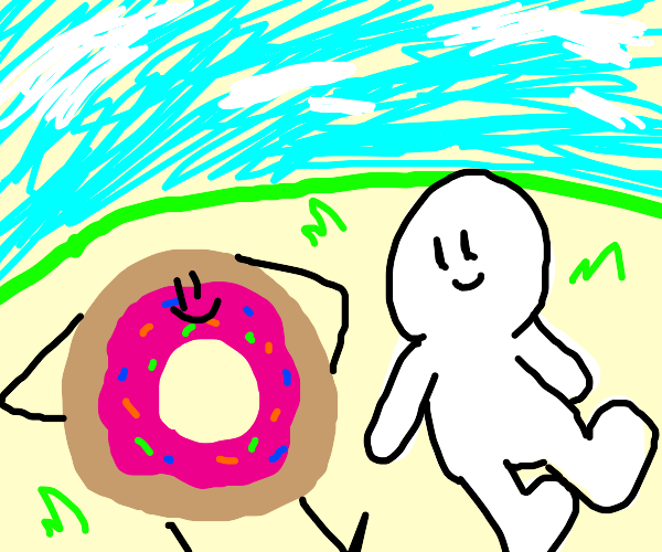 donut man laying on ground by man