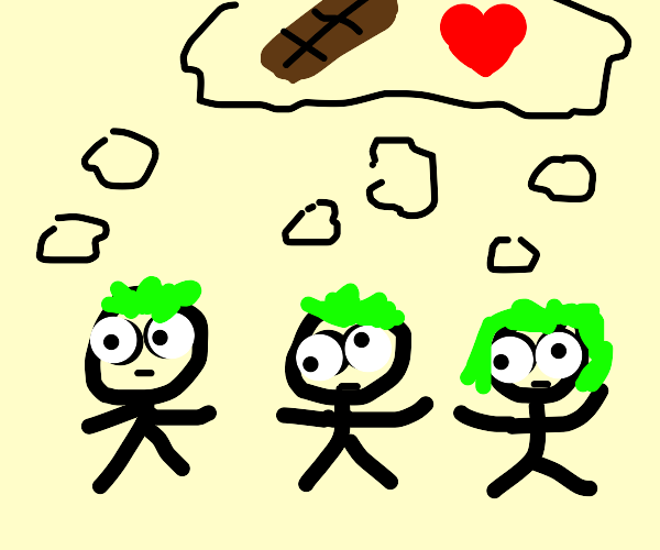 Crazy kids with green hair love chocolate