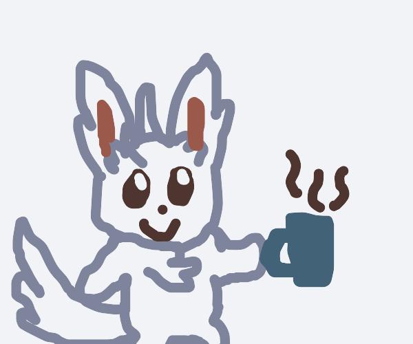 Miniccino drinking hot coffee