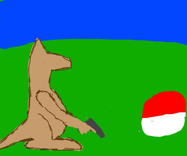 Kangaroo with a gun sees a Pokémon ball