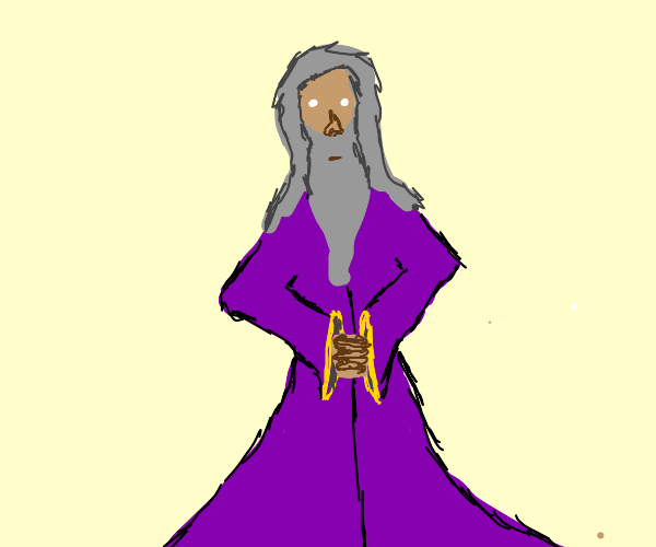 Old man in purple rope