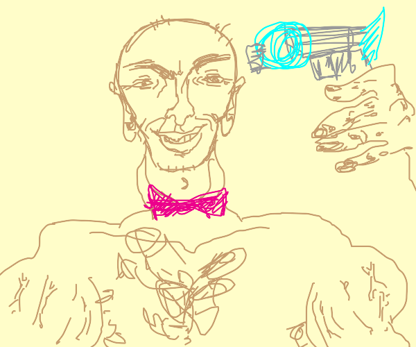 Man with bowtie and space gun