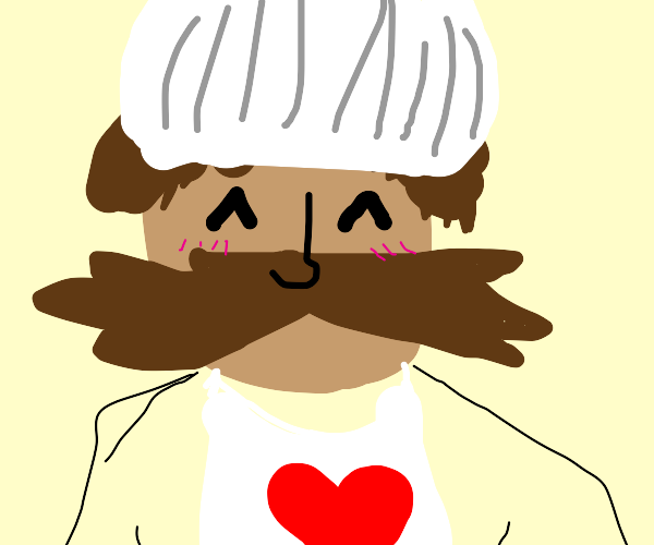 chef with heart apron and big mustache