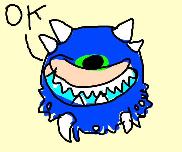 Blue cacodemon gives an ok sign.