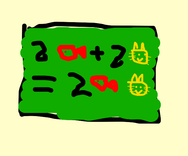 Two fish plus two cats math equation