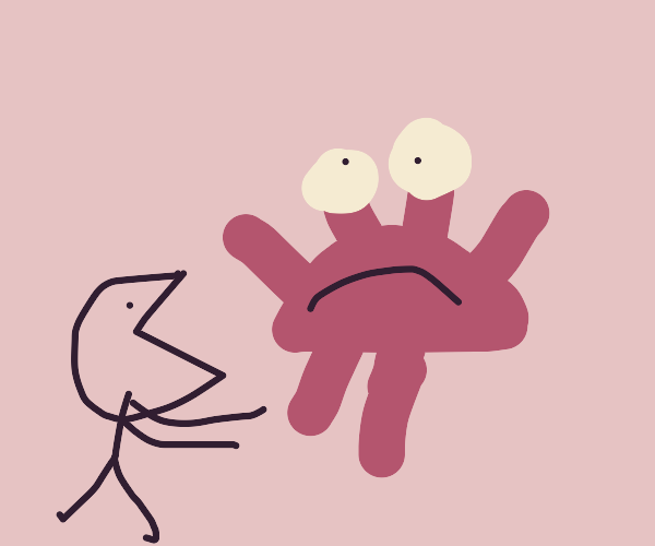 sad crab is about to get eaten