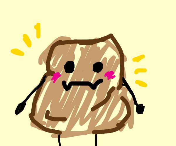 potato sack with cute face & limbs