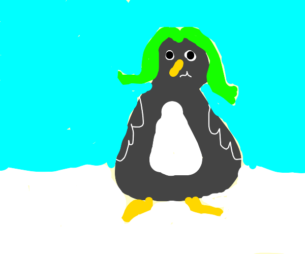 penguin with green hair