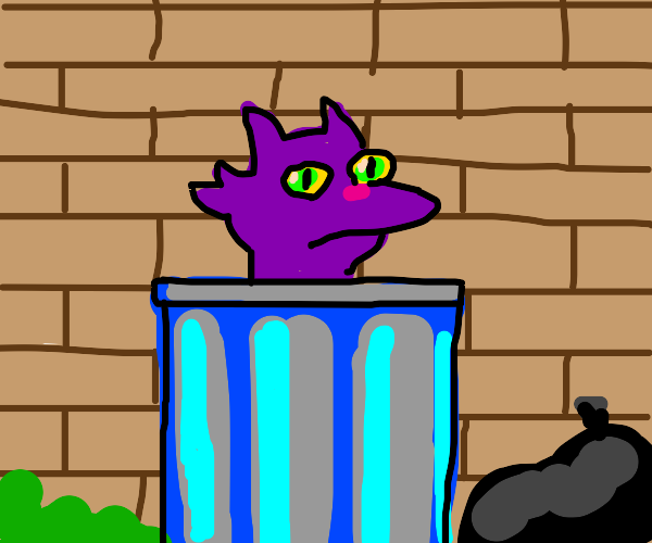 Purple cat in a trashcan