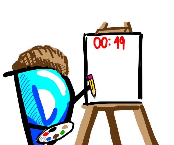 Drawception holding a pencil