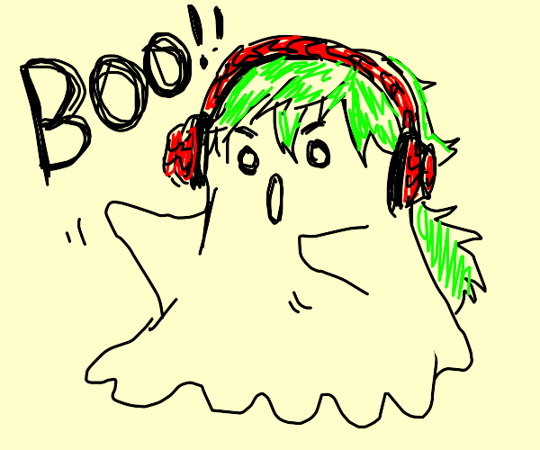 Ghost with head phones says boo
