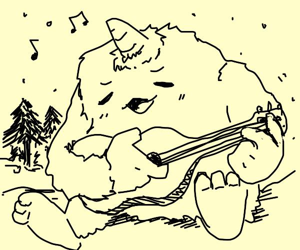 Yeti playing guitar