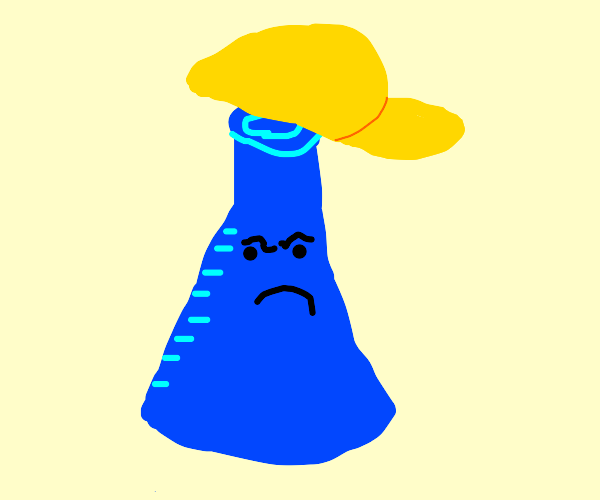 Angry Blue Flask with Gold Cap
