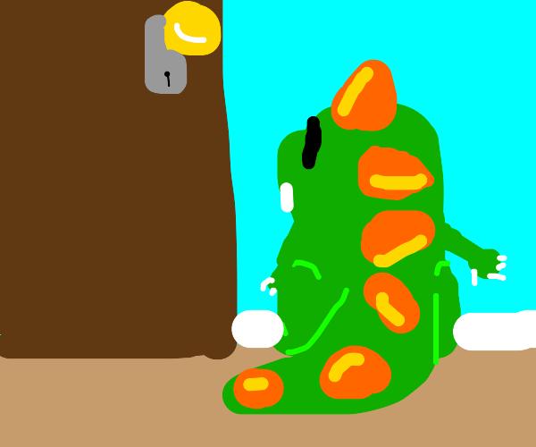 Dinosaur stares into door