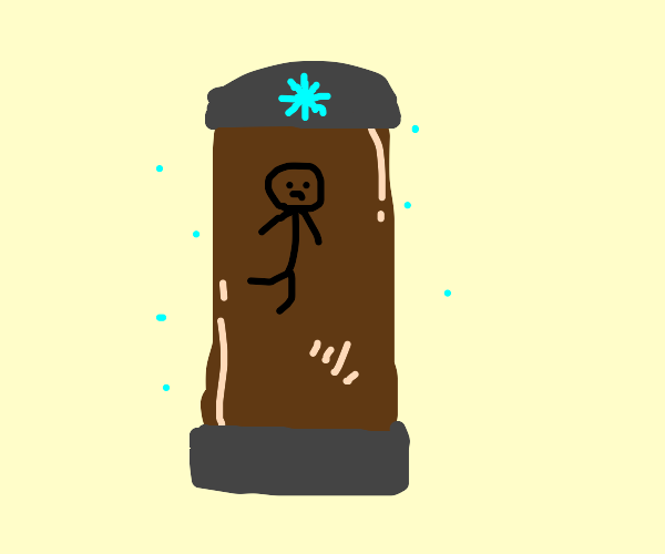 Person In Ice with Brown Water
