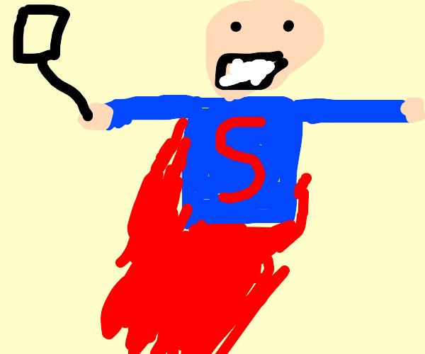 Superman taking a selfie