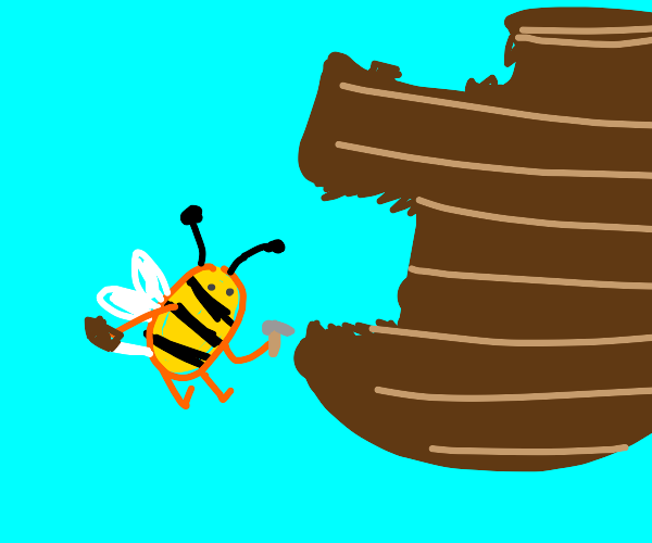 Bee constructing a hive, with little tools :)
