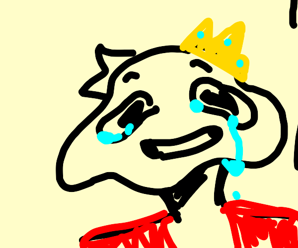King with deformed face and red coat