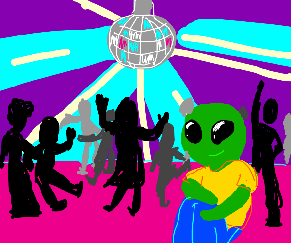 alien camping at a disco