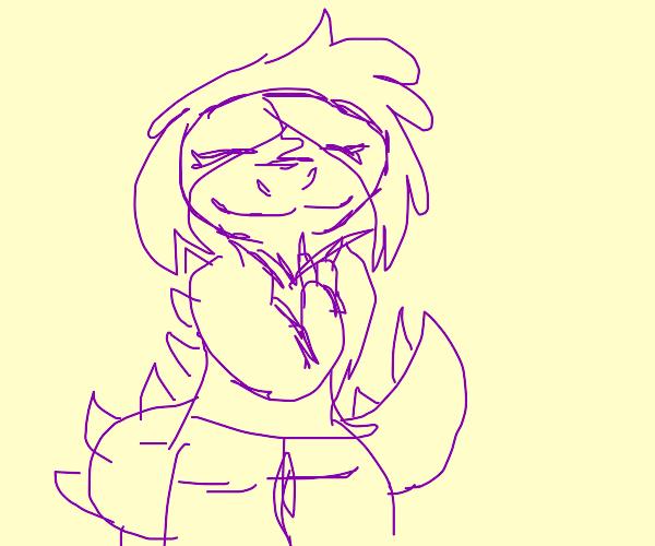 Big purple dinosaur smiling at you