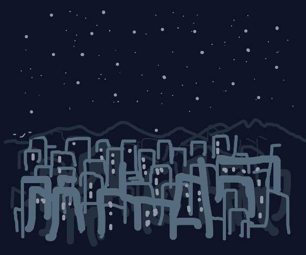 Night sky over a city