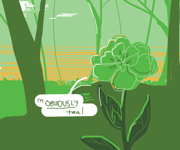 Green flower lies about being teal