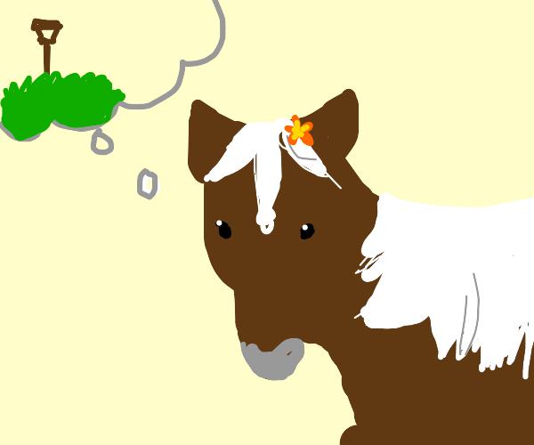 Horse imagining a Shovel