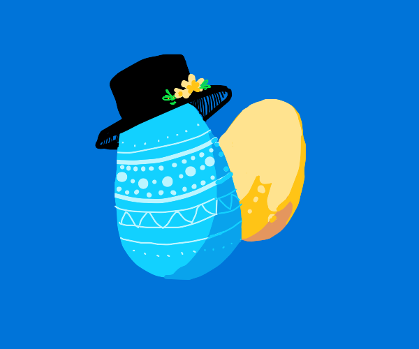 easter egg with a hat