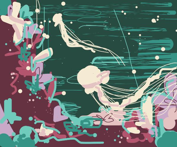 A jellyfish amidst the ocean floor