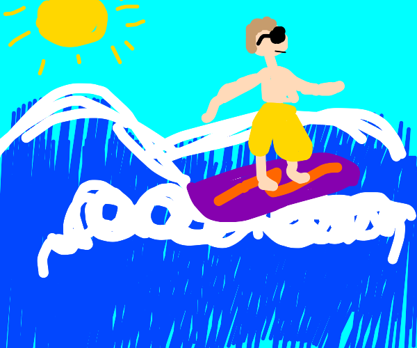 Surfing man with shades.
