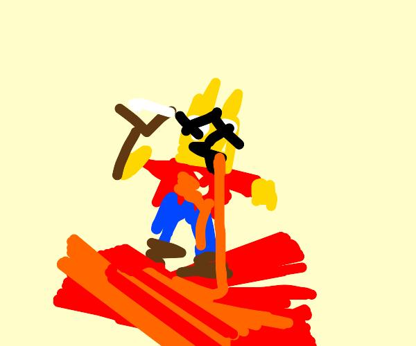 Dead Bart Simpson using slingshot
