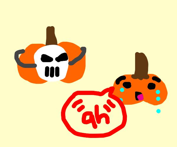 pumpkin in spooky mask scares other pumpkin