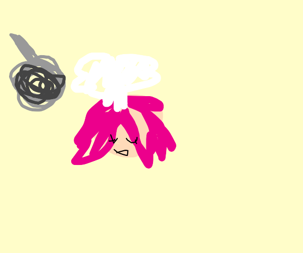 pink-haired person cooking