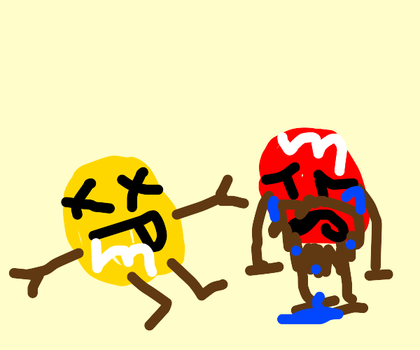 RIP YELLOW M&M, red M&M with beard is sad