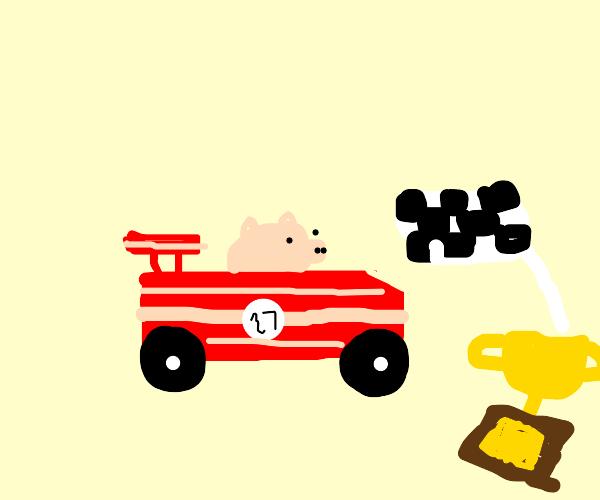 Race car made of bacon