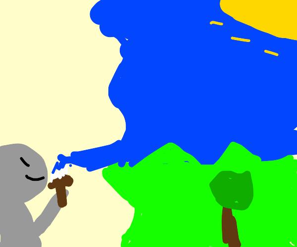 little gray child paints landscape