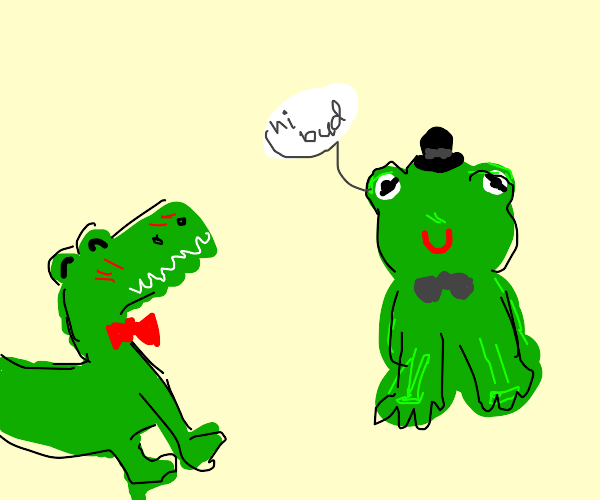 Frog says hi to his alligator friend