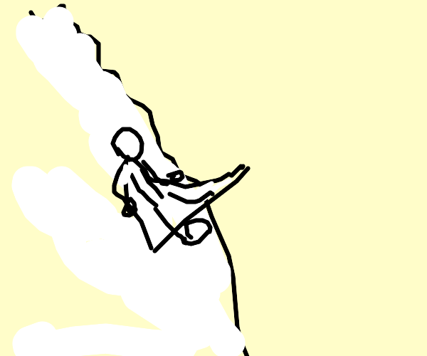 man gliding from snowy mountain