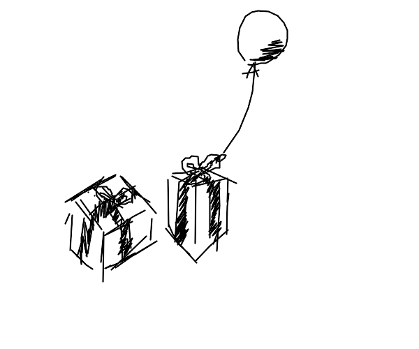 Gifts next to a balloon