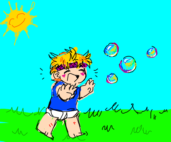 Baby ceasar zeppeli chases bubbles