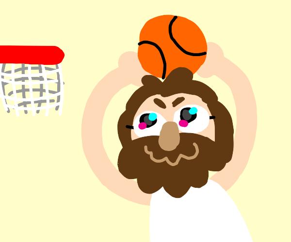 Cute Jesus plays basketball