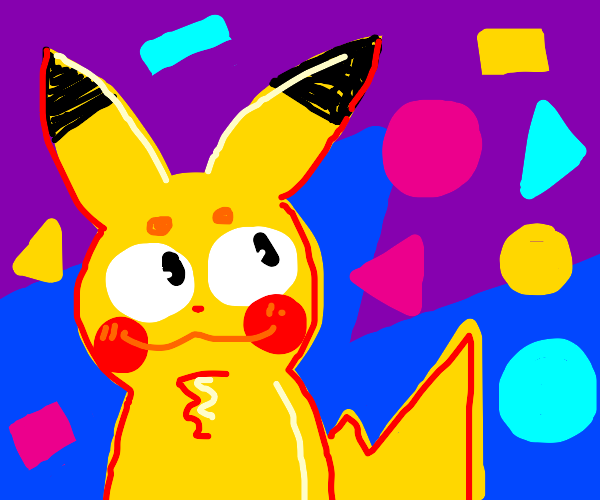 Pikachu surrounded by colourful shapes