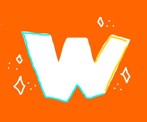 white W with orange background