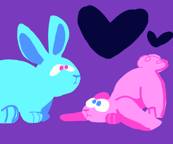 two cute bunnies; pink and blue