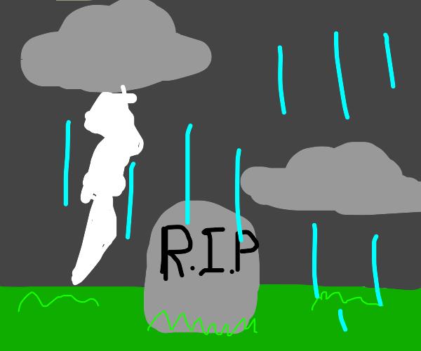 Raining on a grave