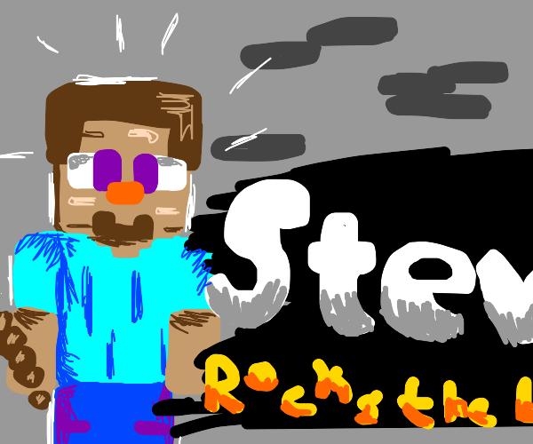 Minecraft Steve in Smash Bros