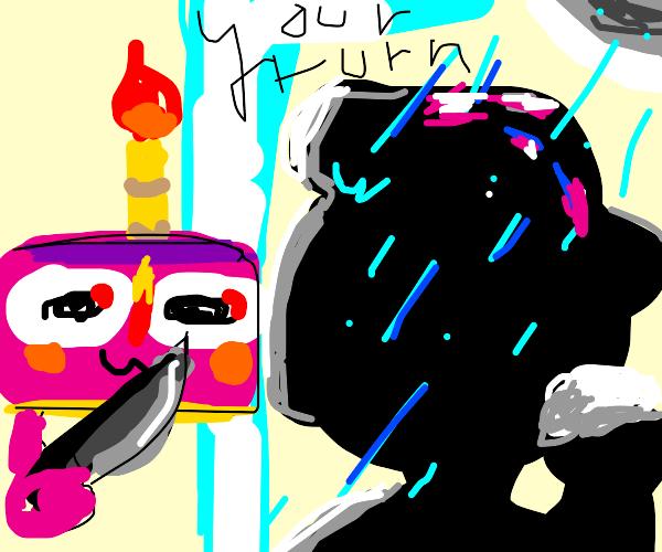 cake appears as man is showering