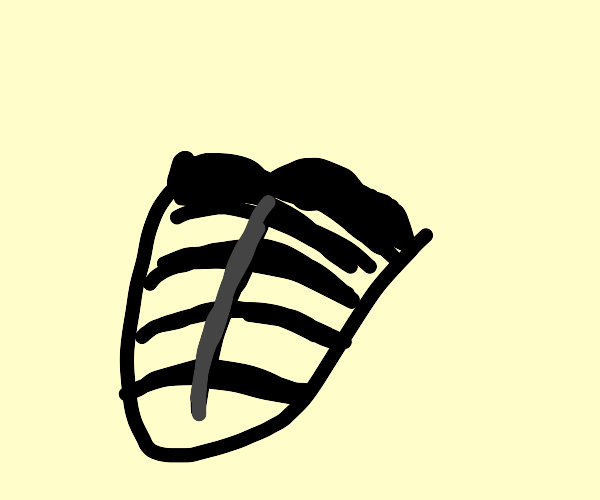 Man with giant striped tongue