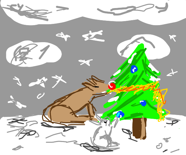 animals of nature decorate sad christmas tree