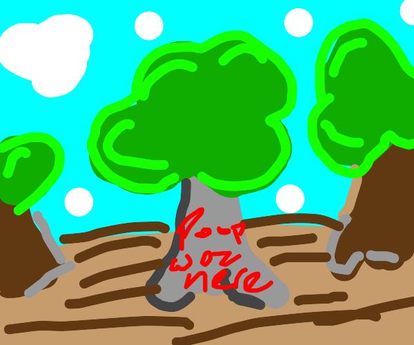 Vandalized stone tree